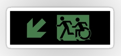 Accessible Means of Egress Icon Exit Sign Wheelchair Wheelie Running Man Symbol by Lee Wilson PWD Disability Emergency Evacuation Sticker 53
