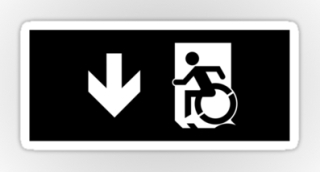 Accessible Means of Egress Icon Exit Sign Wheelchair Wheelie Running Man Symbol by Lee Wilson PWD Disability Emergency Evacuation Sticker 54