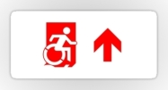 Accessible Means of Egress Icon Exit Sign Wheelchair Wheelie Running Man Symbol by Lee Wilson PWD Disability Emergency Evacuation Sticker 55