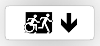 Accessible Means of Egress Icon Exit Sign Wheelchair Wheelie Running Man Symbol by Lee Wilson PWD Disability Emergency Evacuation Sticker 56
