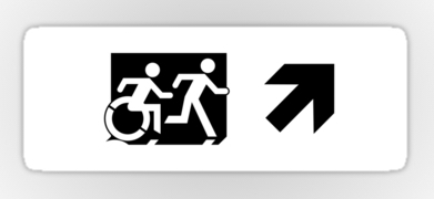 Accessible Means of Egress Icon Exit Sign Wheelchair Wheelie Running Man Symbol by Lee Wilson PWD Disability Emergency Evacuation Sticker 58
