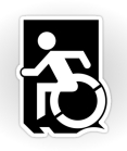 Accessible Means of Egress Icon Exit Sign Wheelchair Wheelie Running Man Symbol by Lee Wilson PWD Disability Emergency Evacuation Sticker 59