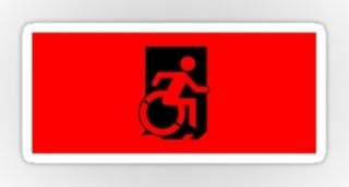 Accessible Means of Egress Icon Exit Sign Wheelchair Wheelie Running Man Symbol by Lee Wilson PWD Disability Emergency Evacuation Sticker 6