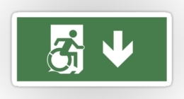 Accessible Means of Egress Icon Exit Sign Wheelchair Wheelie Running Man Symbol by Lee Wilson PWD Disability Emergency Evacuation Sticker 60