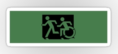 Accessible Means of Egress Icon Exit Sign Wheelchair Wheelie Running Man Symbol by Lee Wilson PWD Disability Emergency Evacuation Sticker 61