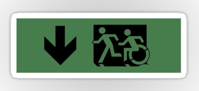 Accessible Means of Egress Icon Exit Sign Wheelchair Wheelie Running Man Symbol by Lee Wilson PWD Disability Emergency Evacuation Sticker 62