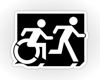 Accessible Means of Egress Icon Exit Sign Wheelchair Wheelie Running Man Symbol by Lee Wilson PWD Disability Emergency Evacuation Sticker 63