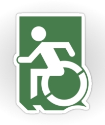 Accessible Means of Egress Icon Exit Sign Wheelchair Wheelie Running Man Symbol by Lee Wilson PWD Disability Emergency Evacuation Sticker 64
