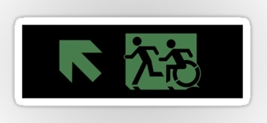 Accessible Means of Egress Icon Exit Sign Wheelchair Wheelie Running Man Symbol by Lee Wilson PWD Disability Emergency Evacuation Sticker 65