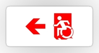 Accessible Means of Egress Icon Exit Sign Wheelchair Wheelie Running Man Symbol by Lee Wilson PWD Disability Emergency Evacuation Sticker 67