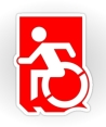 Accessible Means of Egress Icon Exit Sign Wheelchair Wheelie Running Man Symbol by Lee Wilson PWD Disability Emergency Evacuation Sticker 68