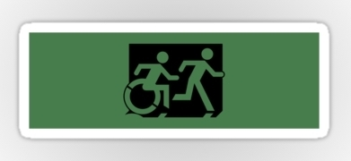 Accessible Means of Egress Icon Exit Sign Wheelchair Wheelie Running Man Symbol by Lee Wilson PWD Disability Emergency Evacuation Sticker 69