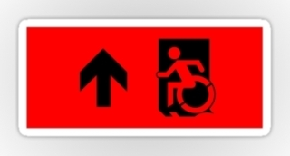 Accessible Means of Egress Icon Exit Sign Wheelchair Wheelie Running Man Symbol by Lee Wilson PWD Disability Emergency Evacuation Sticker 7