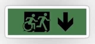 Accessible Means of Egress Icon Exit Sign Wheelchair Wheelie Running Man Symbol by Lee Wilson PWD Disability Emergency Evacuation Sticker 70