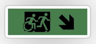 Accessible Means of Egress Icon Exit Sign Wheelchair Wheelie Running Man Symbol by Lee Wilson PWD Disability Emergency Evacuation Sticker 71