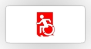 Accessible Means of Egress Icon Exit Sign Wheelchair Wheelie Running Man Symbol by Lee Wilson PWD Disability Emergency Evacuation Sticker 72