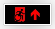 Accessible Means of Egress Icon Exit Sign Wheelchair Wheelie Running Man Symbol by Lee Wilson PWD Disability Emergency Evacuation Sticker 73
