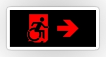 Accessible Means of Egress Icon Exit Sign Wheelchair Wheelie Running Man Symbol by Lee Wilson PWD Disability Emergency Evacuation Sticker 74