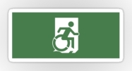 Accessible Means of Egress Icon Exit Sign Wheelchair Wheelie Running Man Symbol by Lee Wilson PWD Disability Emergency Evacuation Sticker 75