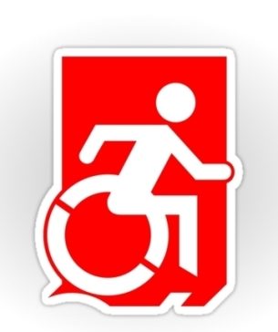 Accessible Means of Egress Icon Exit Sign Wheelchair Wheelie Running Man Symbol by Lee Wilson PWD Disability Emergency Evacuation Sticker 76