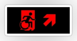 Accessible Means of Egress Icon Exit Sign Wheelchair Wheelie Running Man Symbol by Lee Wilson PWD Disability Emergency Evacuation Sticker 77
