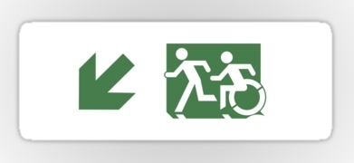 Accessible Means of Egress Icon Exit Sign Wheelchair Wheelie Running Man Symbol by Lee Wilson PWD Disability Emergency Evacuation Sticker 78