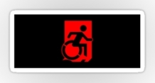 Accessible Means of Egress Icon Exit Sign Wheelchair Wheelie Running Man Symbol by Lee Wilson PWD Disability Emergency Evacuation Sticker 80