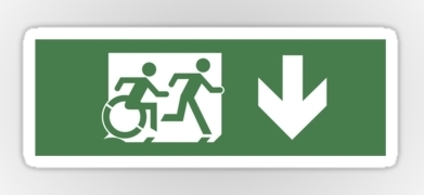 Accessible Means of Egress Icon Exit Sign Wheelchair Wheelie Running Man Symbol by Lee Wilson PWD Disability Emergency Evacuation Sticker 8