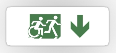 Accessible Means of Egress Icon Exit Sign Wheelchair Wheelie Running Man Symbol by Lee Wilson PWD Disability Emergency Evacuation Sticker 82
