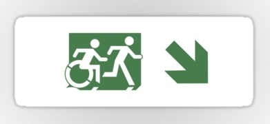 Accessible Means of Egress Icon Exit Sign Wheelchair Wheelie Running Man Symbol by Lee Wilson PWD Disability Emergency Evacuation Sticker 83
