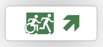 Accessible Means of Egress Icon Exit Sign Wheelchair Wheelie Running Man Symbol by Lee Wilson PWD Disability Emergency Evacuation Sticker 84