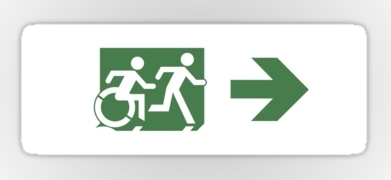 Accessible Means of Egress Icon Exit Sign Wheelchair Wheelie Running Man Symbol by Lee Wilson PWD Disability Emergency Evacuation Sticker 85