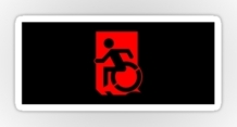 Accessible Means of Egress Icon Exit Sign Wheelchair Wheelie Running Man Symbol by Lee Wilson PWD Disability Emergency Evacuation Sticker 86