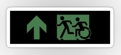 Accessible Means of Egress Icon Exit Sign Wheelchair Wheelie Running Man Symbol by Lee Wilson PWD Disability Emergency Evacuation Sticker 87