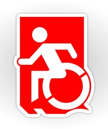 Accessible Means of Egress Icon Exit Sign Wheelchair Wheelie Running Man Symbol by Lee Wilson PWD Disability Emergency Evacuation Sticker 88
