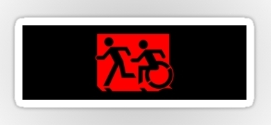Accessible Means of Egress Icon Exit Sign Wheelchair Wheelie Running Man Symbol by Lee Wilson PWD Disability Emergency Evacuation Sticker 89