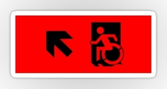 Accessible Means of Egress Icon Exit Sign Wheelchair Wheelie Running Man Symbol by Lee Wilson PWD Disability Emergency Evacuation Sticker 9