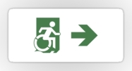 Accessible Means of Egress Icon Exit Sign Wheelchair Wheelie Running Man Symbol by Lee Wilson PWD Disability Emergency Evacuation Sticker 90