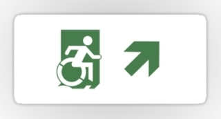 Accessible Means of Egress Icon Exit Sign Wheelchair Wheelie Running Man Symbol by Lee Wilson PWD Disability Emergency Evacuation Sticker 91