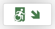 Accessible Means of Egress Icon Exit Sign Wheelchair Wheelie Running Man Symbol by Lee Wilson PWD Disability Emergency Evacuation Sticker 92