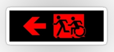 Accessible Means of Egress Icon Exit Sign Wheelchair Wheelie Running Man Symbol by Lee Wilson PWD Disability Emergency Evacuation Sticker 93