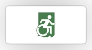 Accessible Means of Egress Icon Exit Sign Wheelchair Wheelie Running Man Symbol by Lee Wilson PWD Disability Emergency Evacuation Sticker 94