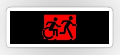 Accessible Means of Egress Icon Exit Sign Wheelchair Wheelie Running Man Symbol by Lee Wilson PWD Disability Emergency Evacuation Sticker 95