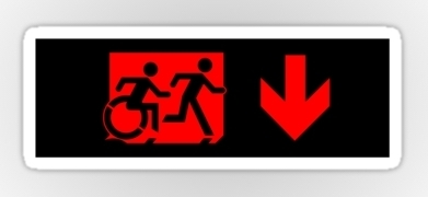Accessible Means of Egress Icon Exit Sign Wheelchair Wheelie Running Man Symbol by Lee Wilson PWD Disability Emergency Evacuation Sticker 96