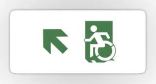 Accessible Means of Egress Icon Exit Sign Wheelchair Wheelie Running Man Symbol by Lee Wilson PWD Disability Emergency Evacuation Sticker 97