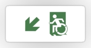 Accessible Means of Egress Icon Exit Sign Wheelchair Wheelie Running Man Symbol by Lee Wilson PWD Disability Emergency Evacuation Sticker 98