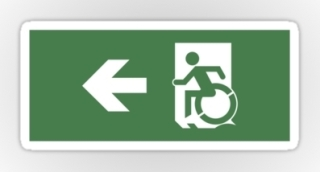 Accessible Means of Egress Icon Exit Sign Wheelchair Wheelie Running Man Symbol by Lee Wilson PWD Disability Emergency Evacuation Sticker 99