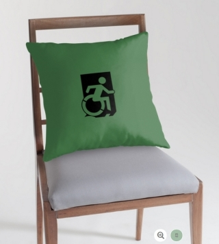 Accessible Means of Egress Icon Exit Sign Wheelchair Wheelie Running Man Symbol by Lee Wilson PWD Disability Emergency Evacuation Throw Pillow Cushion 1