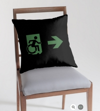 Accessible Means of Egress Icon Exit Sign Wheelchair Wheelie Running Man Symbol by Lee Wilson PWD Disability Emergency Evacuation Throw Pillow Cushion 100