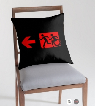 Accessible Means of Egress Icon Exit Sign Wheelchair Wheelie Running Man Symbol by Lee Wilson PWD Disability Emergency Evacuation Throw Pillow Cushion 10